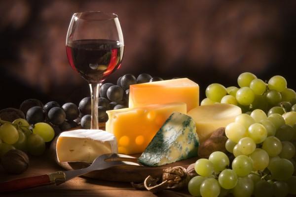вино,сыр, виноград
