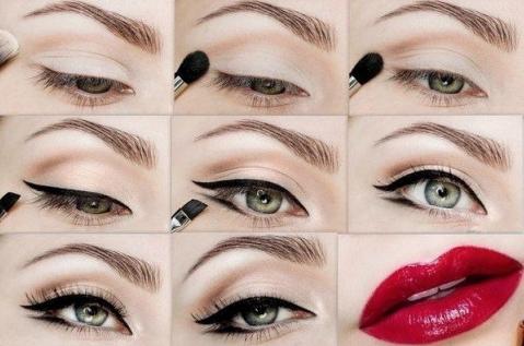 как сделать макияж с красной помадой