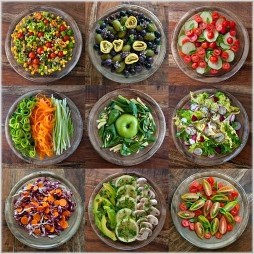 Большое количество овощей для похудения