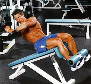 Упражнения на скамье с утяжелителями