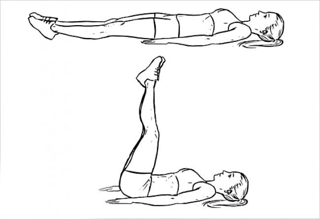 Упражнение подъем прямых ног