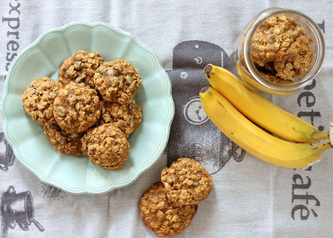 Банановое печенье с овсянкой и творогом